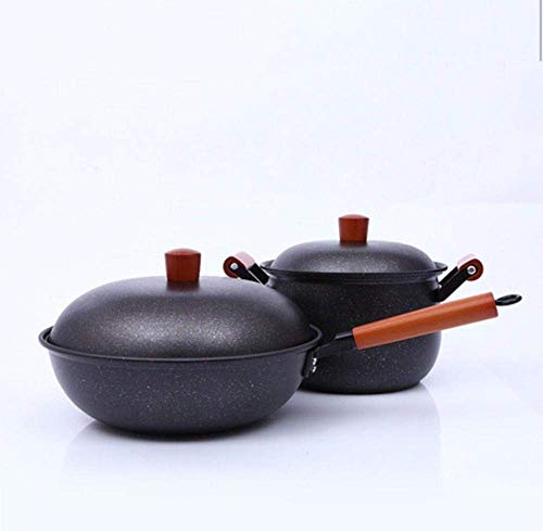 Wok deksel, Non-Stick 33 cm Koekenpan, aluminium, Maifan Stone tweedelig pak Set Non-Stick Wok Wok-Maifan Stone_Set, Copper pan met antiaanbaklaag, deksel ZHANGKANG