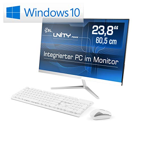 Lautloser All-in-One PC 60,5cm (23,8 Zoll) - CSL Unity F24W / Win10 Home - Silent-PC mit Intel QuadCore CPU 4X 2300MHz, 64GB eMMC, 4GB RAM, AC WLAN, USB 3.1