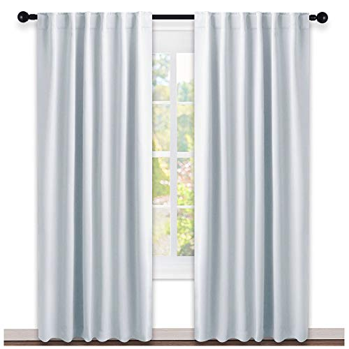 NICETOWN Living Room Darkening Curtain Panels - (Cloud Grey Color) W52 x L95, 2 PCs, Back Tab/Rod Pocket Room Darkening Window Treatment Draperies