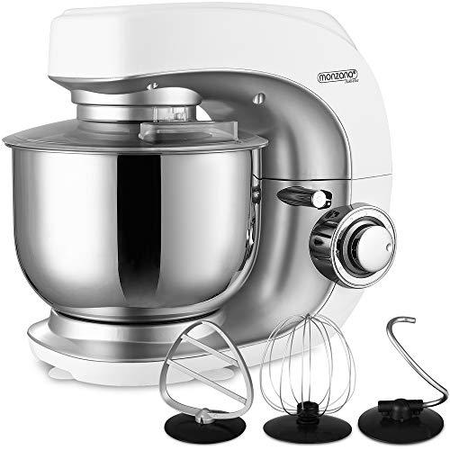 Monzana Robot de cocina multifunción Blanco batidora amasadora mezcladora con bol de 4,5L 3 accesorios y 7 velocidades
