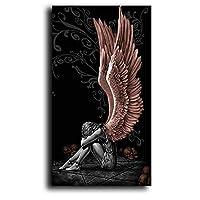 天使と悪魔キャンバス絵画赤い翼灰色のキャラクターポスタープリント壁アート写真リビングルーム-70x140cmx1フレームなし