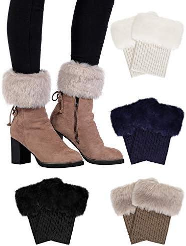 Pangda 4 Pairs Women Faux Fur Boot Cuff Short Furry Leg Warmers Girls Winter Socks Knitted Boot product image