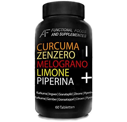 CZMLP+ A.I.F. | 60 CPR | CURCUMA-ZENZERO-MELOGRANO-LIMONE-PIPERINA il BRUCIAGRASSI con i 5 + POTENTI PRINCIPI ATTIVI
