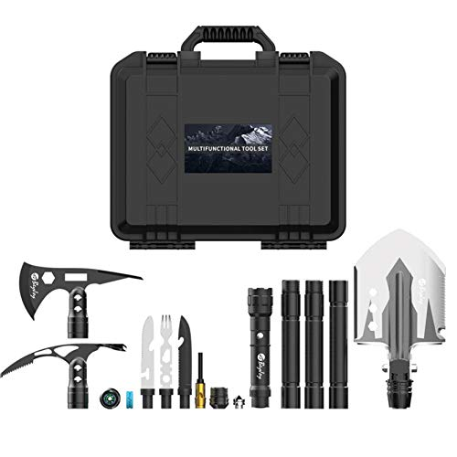 BeyJoy Multi Functional Outdoor Survival Toolbox Set Manganese Steel Folding Engineer Shovel Axe Ice Pick Knife Fork Torch Compass Luminous Ring