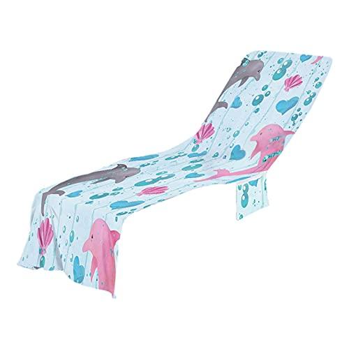 happygirr Lounge Pool Chair Cover Marine Life Muster Strandtuch Sand Liegestuhl Handtuch Marine Life Grafik Strandtuch Tasche für Den Sommerurlaub 73x210CM