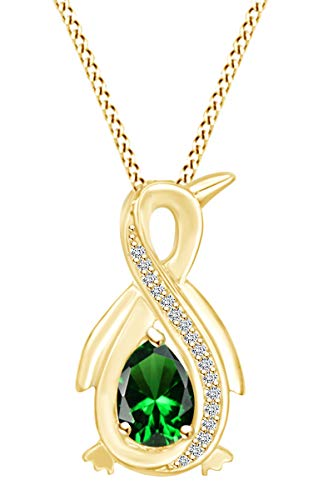 Pear Simulated Emerald & Diamond Accent Infinity Penguin Pendant Necklace 14k Yellow Gold Over Sterling Silver with 18' Chain