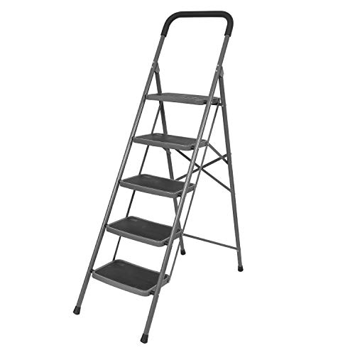 Bathla Boost 5-Step Foldable Steel Ladder with Anti-Slip Steps (Black)