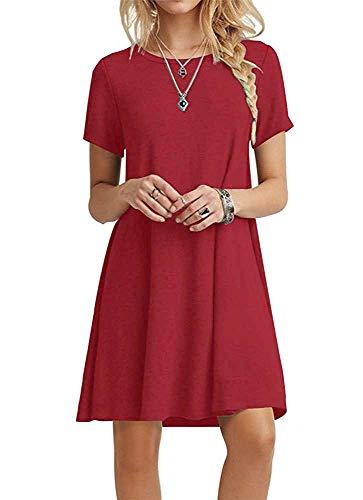 FALARY Sommerkleid Damen Tunika Shirtkleider Freizeitkleid Tshirt Kleid Kurzarm Lose Kleider Rot M