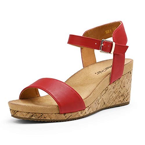 DREAM PAIRS Women's Red Pu Open Toe Buckle Ankle Strap Platform Wedge Sandals Size 5.5 M US Nini-8