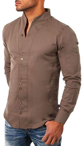 CARISMA Herren Uni Langarm Stehkragen Hemd Slimfit tailliert figurbetont Party Club Look Optik Freizeit Casual einfarbig Basic, Grösse:L, Farbe:Hellbraun