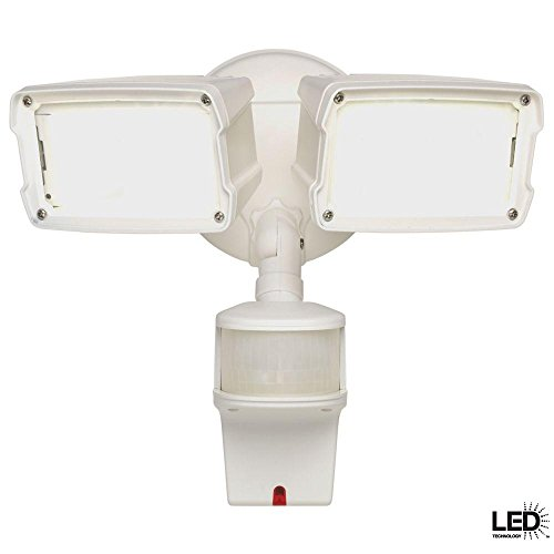 Defiant 180-Degree White Motion Activated Sensor Twin-Head Outdoor Integrated LED Security Flood Light with Doppler Radar