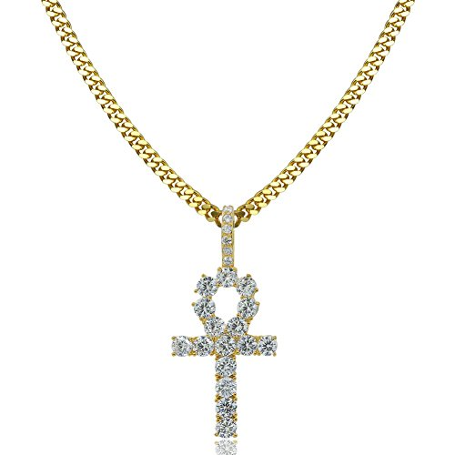 TOPGRILLZ 14K Gold Plated Iced Out CZ Lab Diamond Ankh Cross Egyptian Pendant for Men and Women with 24' Stainless Steel Chain Necklace(Gold Cuban Chain,24)