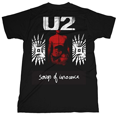 U2 Red Shade Album Songs of Innocence Rock oficial Camiseta para hombre (X-Large)