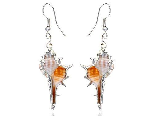 Alilang Silberton Pfirsich-weiße Ozean Meer Conch Muschel Fisch Haken Anhänger Baumeln Ohrringe