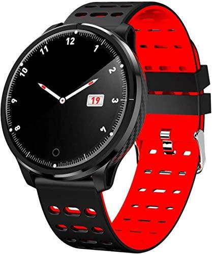 Pulsera de reloj inteligente, rastreador de ejercicio físico, impermeable Bluetooth multifunción, monitoreo del sueño-rojo