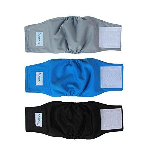 Teamoy Wiederverwendbare Wickelwindeln für männliche Hunde, waschbares Bauchband für Welpen, 3 Stück (XS, 17,8 cm - 22,9 cm Taillenumfang, Schwarz + Grau + Seeblau)