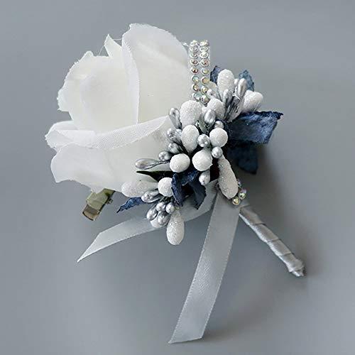 Metermall Home Simuleer Silk Rose met Berry Wedding Corsage voor Bruidegom Bruid Huwelijk Broche Pin