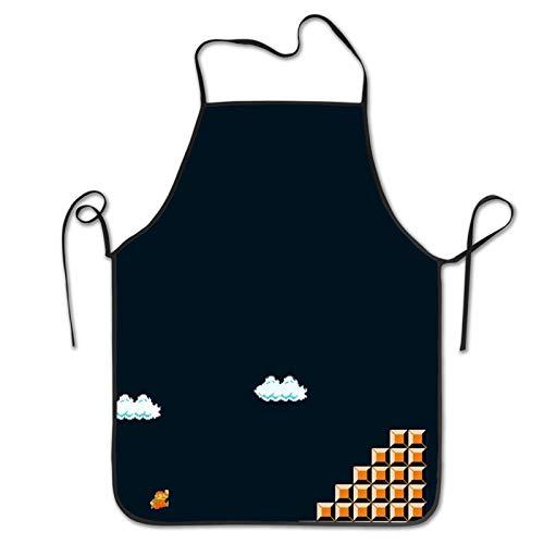 Delantal unisex con diseño de dibujos animados de anime Super Mario con costuras y corazones y flores para cocina