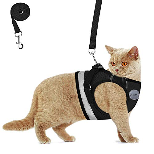 cat leashes Kitten Harness with Leashes Set, Escape Proof Cat Harness, Adjustable Reflective Soft Mesh Vest Fit Puppy Kitten Rabbit Ferrets's Outdoor Cat Harness (Black, XXS, Chest: 6