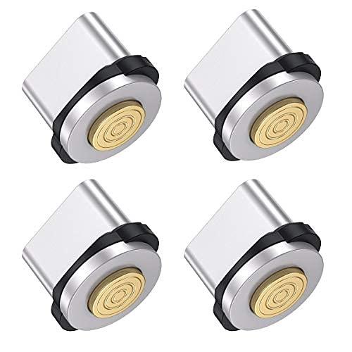 Adaptador magnético tipo C giratorio [4 unidades], carga rápida 3A, conector magnético de repuesto para teléfono móvil, protección contra el polvo, conector magnético para cable de carga (tipo C)
