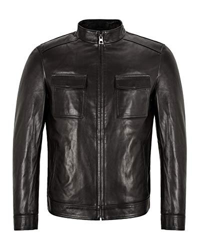 Smart Range Leather Elegante Chaqueta de Cuero para Hombre Semi Veg Tanned Black Casual Italian Lambskin Jacket M-52