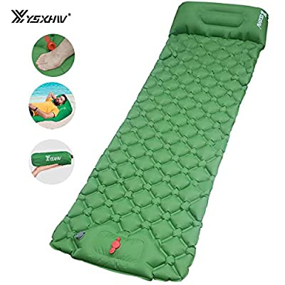YSXHW Camping Sleeping Pad with Pillow Waterproof Inflatable Sleeping Mat Lightweight Air Mattress with Built-in Pump for Tent, Hiking and Backpacking