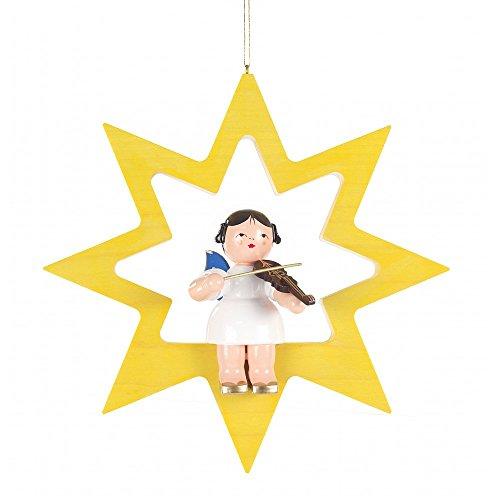 Dregeno Ertsgebergte - vensterafbeelding engel met viool in gele ster - 175 cm