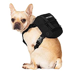 OneTigris Dog Pack, K9 Backpack Durable Small Medium Dog Pack with Litter Bag Exit for Camping Hiking Daily Walking (Ranger Green, Extra Small)