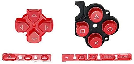 OSTENT Buttons Key Pad Set Repair Replacement Compatible for Sony PSP 3000 Slim Console - Color Red