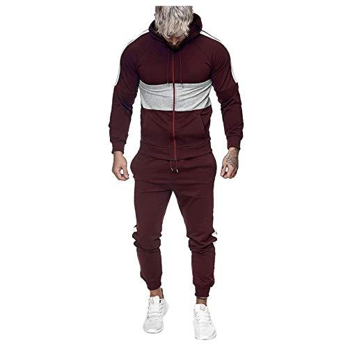 Mens Tracksuits Splicing Hooded Sweatshirt Sweatpants 2 Pieces Pockets Sweatsuits Full Zip Long Sleeve Jogging Suits