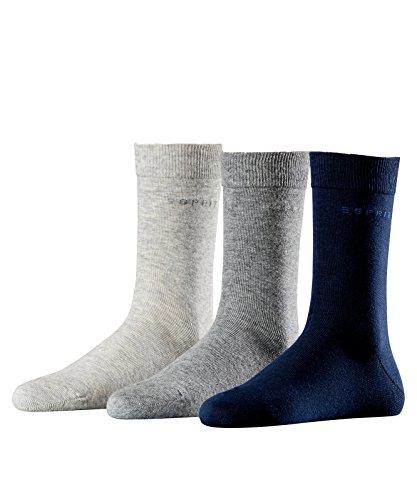 Esprit Damen Socken Solid-Mix 3er Pack; Einheitsgröße 36-41 - Farbenauswahl: Farbe: Melange Grau, Grau, Marine