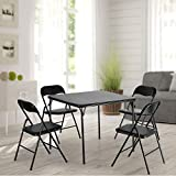 JAXPETY 5-Piece Folding Table and Chairs, Card Table and Padded Chairs Set for 4, Multipurpose Kitchen Dining Gaming Table Set, Black