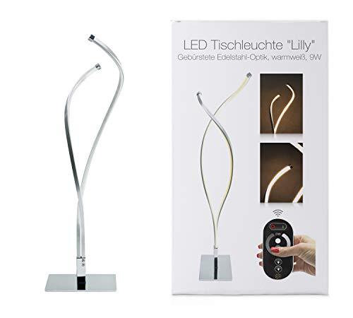 LED Universum Lampe de table Lilly : en aluminium avec un aspect chrome brillant et plastique opale, 9W, blanc chaud (3000K), 47 x 12 x 12 cm, kit radio avec commande tactile et contrôleur
