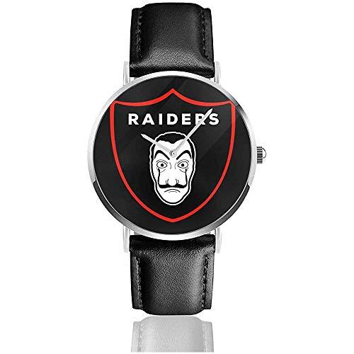 Unisex Business Casual Raders Salvador Dali Logo Uhren Quarz Leder Uhr