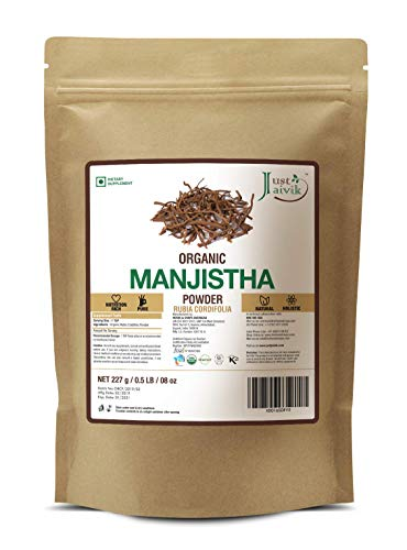 Just Jaivik 100% Organic Manjistha Powder - Certified Organic by OneCert Asia, 227 gms / 1/2 LB Pound / 08 Oz - Rubia cordifolia - Promoting healthy and clear skin (AN USDA Organic Certified Herb)