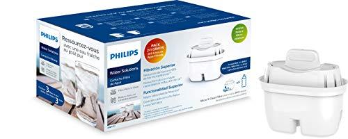 Philips - AWP211 - Wasserfilter Micro X Clean, Kartuschen für Wasserfilter, kompatibel mit Philips Kannen und führenden Marken, ovale Kartusche - Pack 2+1