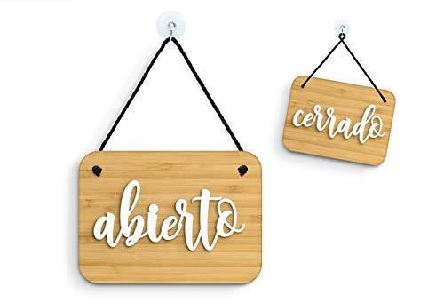 3DP Signs - Bambù Shabby Chic - Abierto Cerrado Cartel Doble Cara Signo OC12 - Placa de la Puerta Colgante de Doble Cara - Letrero de la Tienda Comercial Reversible