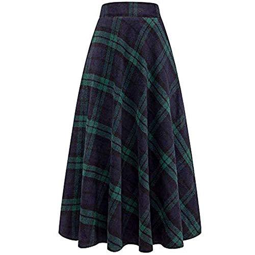 Nobrand Winter-/Herbstrock, Damen, hohe elastische Taille, Maxi-Linie, kariert, leger, grün, rot,...