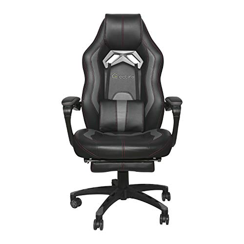 High Back Gaming Chair Computer Desk Chair Adjustable Swivel Chair Office Racing Chair, Headrest and Lumbar Support E-Sports Swivel Chair