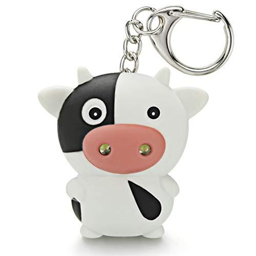 TIANDI Llavero Led de Ganado de Vaca con Linterna de Sonido, Mini Juguetes Divertidos para niños, Llavero de Animales, Llavero de Regalo para niños