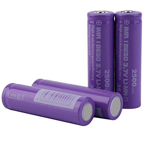4PCS Button Up Top 18650 Baterías Recargables - Batería De 3.7V 2500mAh INR 18650 - Corriente De Descarga De Alto Rendimiento Célula De Batería 35A - Para Linterna Antorchas Herramienta Electrónica