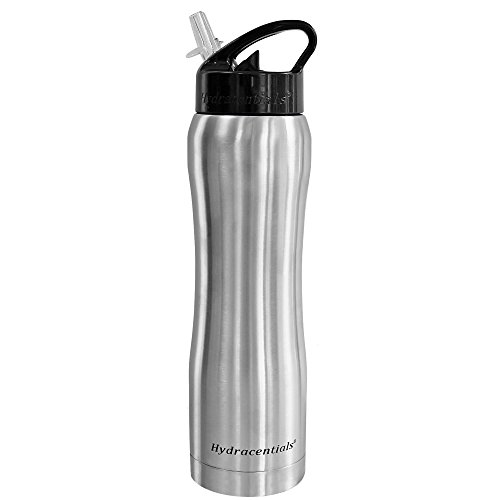Hydracentials Stainless Steel Vacuum Insulated Water Bottle With Straw- 25 oz- (Stainless Steel)