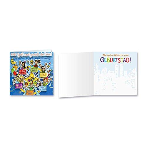 Sheepworld, Gruss & Co - 90056 - Klappkarte, mit Umschlag, Geburtstagsgrüsse mit Pop Nr. 56, Hab Spaß und genieße die Feier!
