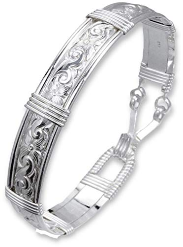 Handmade Sterling Silver Bracelet - Waves & Flowers Pattern - Silver Bracelets For Women - Made in Alaska