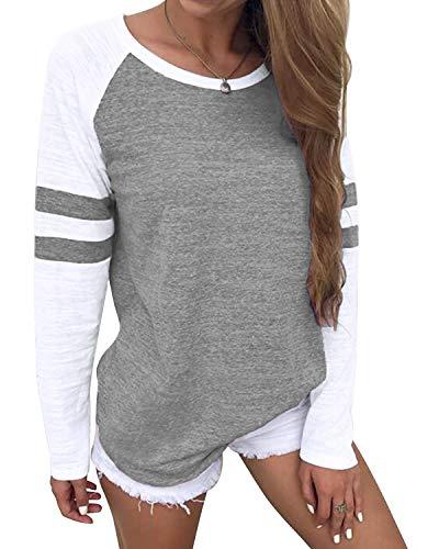 YOINS Camiseta de Manga Larga para Mujer Camisas con Rayas Cuello Redondo Casual Blusas Elegante Tops Gris M