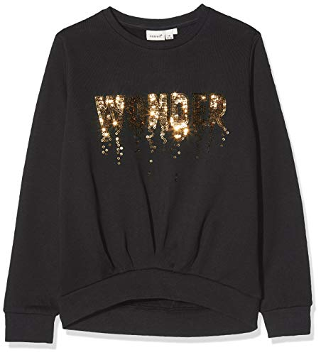 NAME IT Mädchen Nkfruby Ls Sweat Bru Box Sweatshirt, Schwarz (Black Black), 134/140 (Herstellergröße: 134-140)