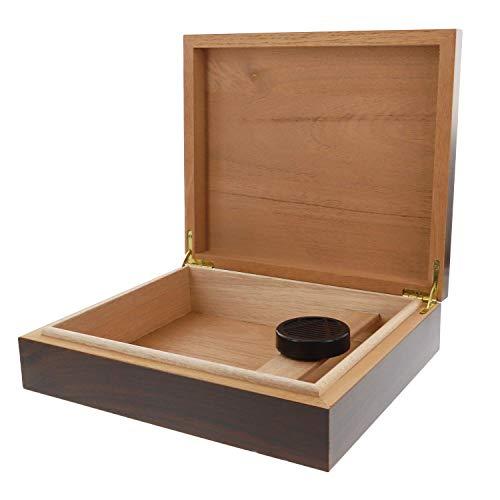 kogu Humidor Set Walnuss Dekor Holz Optik Dunkelbraun, für 20 Zigarren inkl. Acrylpolymer-Befeuchter, Einsatz und Trennleiste