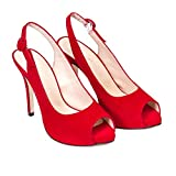 Camila - Sandalias Destalonadas Rojas de Vestir para Mujer en Piel - Punta Peep Toe - Tacon Alto Fino Aguja 10 cm - Plataforma 1 cm - Zapatos Fiesta Elegantes Verano - Rojo - Rojo 37 EU