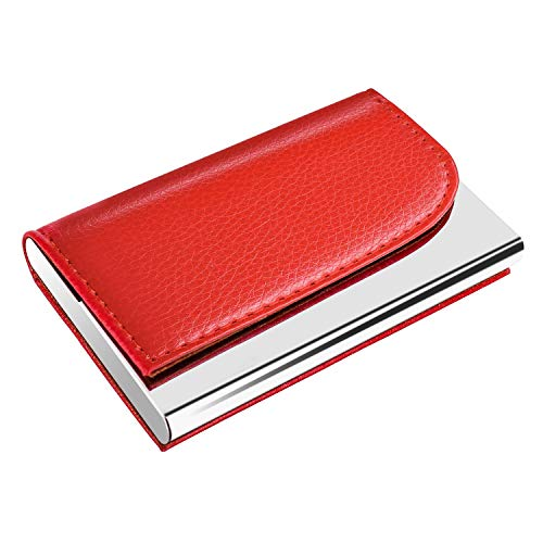 MaxGear Business Card Holder Leather Business Card Case Name Card Holder Business Card Wallet Business Card Carrier Slim Metal Pocket Card Holder Red