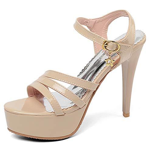Dames Dames Halfhoge Hak Open Teen Waterdicht Platform Slanke Hoge Hak Type Gesp Sexy Zilver Witte Sandalen 32-43,Gold,33